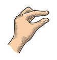 hand showing tiny small size sketch vector image