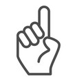 hand with one finger pointing up line icon hand vector image vector image