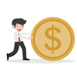 happy business man with goin coin vector image vector image