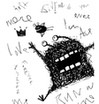 Horrible scribble hand drawn monster monochrome vector image vector image