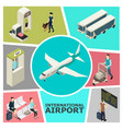 isometric airport colorful template vector image