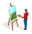 Isometric Artist painting with colorful palette vector image