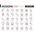 kitchen flat line icon set vector image vector image