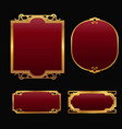 labels with 3d decorative red golden frames vector image vector image