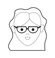 line happy beautiful woman with glasses and vector image vector image