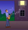 man sings serenade pop art vector image vector image
