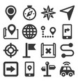 map and navigation icons set on white background vector image vector image