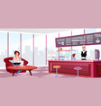 megapolis coffeehouse interior flat young girl vector image vector image