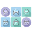 outlined icon of open envelope and letter with vector image vector image