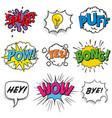 pop art text explosive sound effects vector image vector image