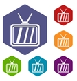 Retro TV icons set vector image vector image