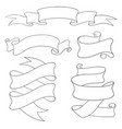 ribbon and paper scrolls outline icons set vector image