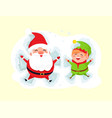 santa and elf cartoon character having fun in snow vector image vector image