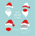 santa claus head label wear surgical mask set icon vector image