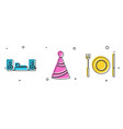 set home stereo with two speakers party hat and vector image vector image