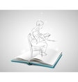 Sketch Doodle man sitting at the table on a chair vector image