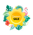 summer sale banner with flamingo and tropical vector image