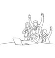 team work goal concept one continuous line vector image