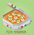 the real pizza margherita italian pizza in box vector image vector image