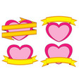 valentine day themed colorful stickers hearts and vector image vector image