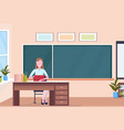 woman teacher sitting at desk reading book vector image vector image
