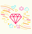 Diamond on abstract colorful geometric light vector image