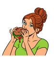 a woman eats a burger vector image vector image
