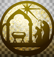 Adoration of the Magi silhouette icon gold vector image