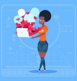 african american girl blogger hold computer with vector image vector image
