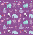 animals cartoon wildlife nature seamless pattern vector image