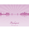 Budapest skyline in purple radiant orchid vector image