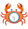 cartoon crab on clock template vector image vector image