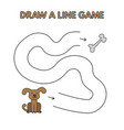 cartoon dog draw a line game for kids vector image