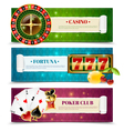 Casino 3 Horizontal Banners Set vector image