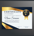certificate template with golden and black shapes vector image vector image