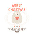 christmas greeting card with cute sheep vector image