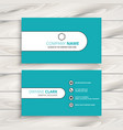 clean modern blue business card vector image vector image