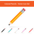 colored pencils isolated on a white background vector image vector image