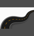 curved road with markings vector image vector image