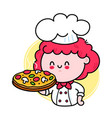 cute funny chef cook girl character serving pizza vector image vector image