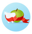 dental care apple and tooth on vector image