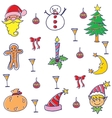 Doodle of christmas set element vector image vector image