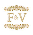 f and v vintage initials logo symbol vector image vector image