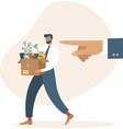 fired sad man carrying a box with his belongings vector image