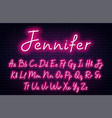 glowing neon script alphabet neon font with vector image vector image