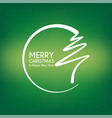 green abstract merry christmas tree line vector image vector image