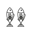 grilled fish adventure thin line icon symbol vector image