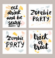 halloween cards with hand written lettering set vector image vector image