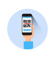 hand hold smart phone scanning qr code icon vector image vector image