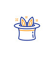 hat-trick line icon magic tricks with hat and vector image